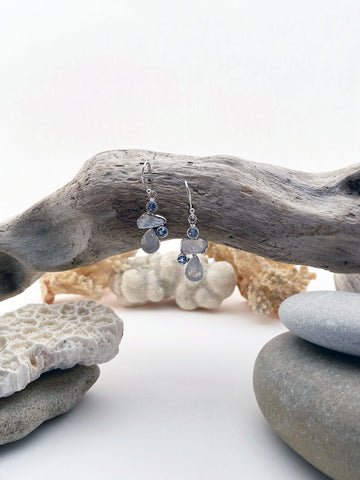 Sterling Silver Moon Stone & Blu Topaz Natural Stone Drop Earrings - edocollection
