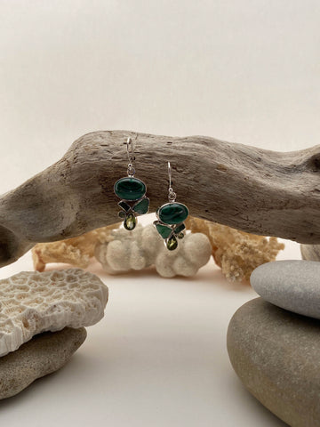 Sterling Silver Semi-Precious Green Malachite and Peridot Natural Stone Drop Earrings - edocollection