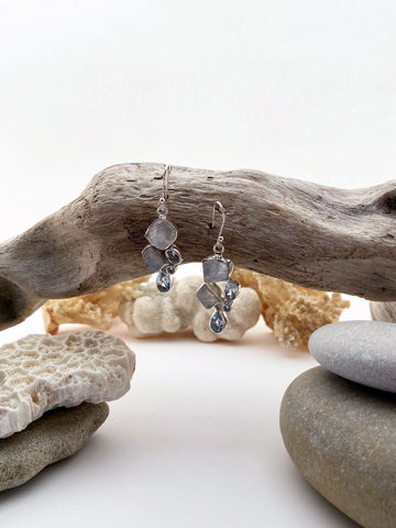 Sterling Silver Rough Cut Moon Stone & Aquamarine Drop Earrings - edocollection
