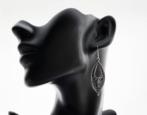 Silver Dangle Oval  Earrings - edocollection