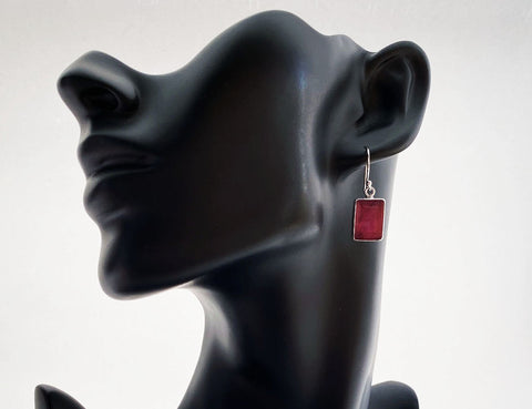 Sterling Silver Faceted Red Ruby Stone Drop Earrings - edocollection