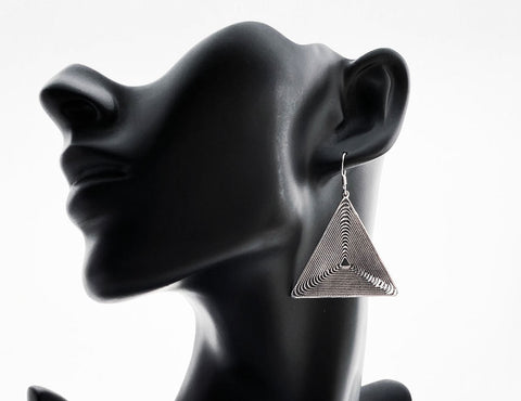 Silver Filigree Drop Triangle Earrings - edocollection