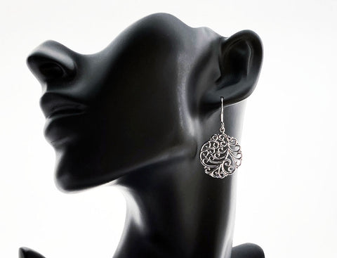 Silver Tree Of Life Round Dangle Earrings - edocollection