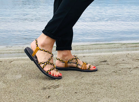 Unique Vegan Summer Sandals- Yellow- edocollection