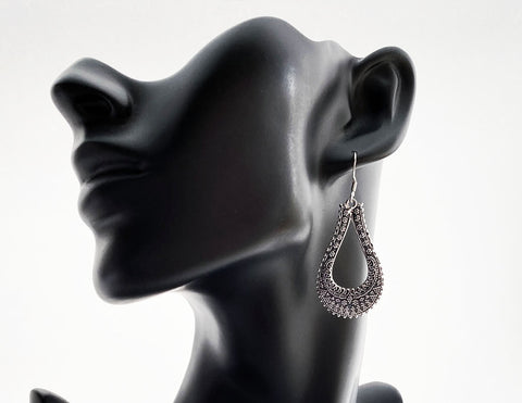 Sterling Silver Pear Drop Carved Earrings - edocollection