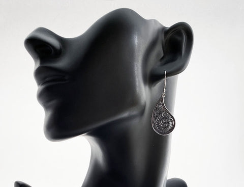 Silver Filigree Tear Drop Shape Dangle Earrings - edocollection