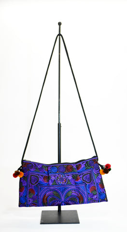Embrodery Clutch Bag In H'Mong Fabric Purple - edocollection