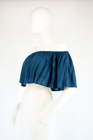 Brazilian Frill Crop Top-Teal - edocollection