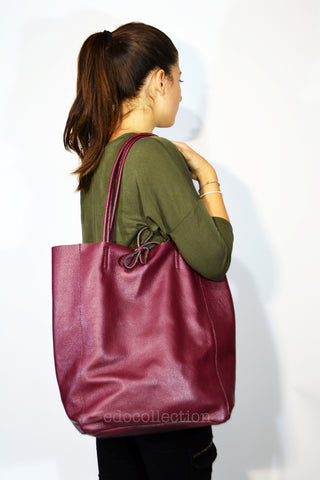 Leather Shopper Tote Bag-Burgundy - edocollection