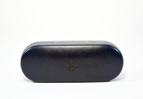 Large Leather Glasses Case-Dark Blue - edocollection