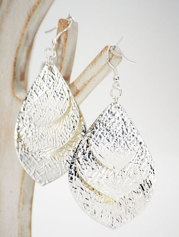 Silver Leaves Statement Earrings - edocollection