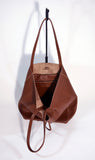 Leather Shopper Bag-Tan - edocollection