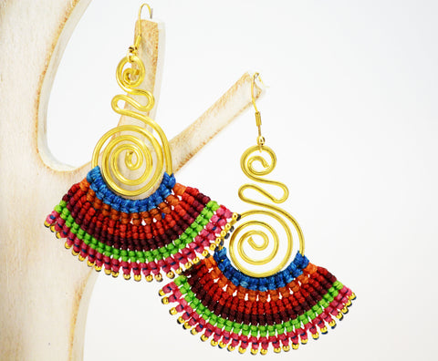 Macrame' Dangle Earrings Red - edocollection