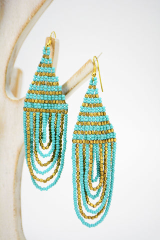 Turquoise and Brass Beaded Statement Earrings - edocollection