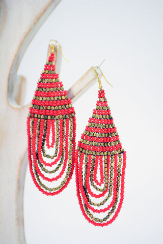 Beaded Statement Earrings Red - edocollection