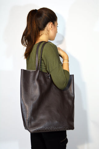 Leather Shopping Tote Bag-Dark Brown - edocollection
