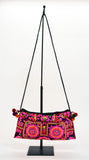 Vintage Shoulder Bag In H'Mong Fabric Pink - edocollection