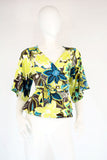 Floral Lime Yellow Wrap Top - edocollection
