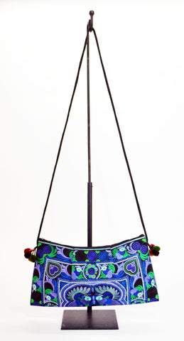Embrodery Purse Bag In H'Mong Fabric Blu - edocollection