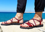 Women's Flat Summer Sandals-Burgundy and Pink-Claudia Style - edocollection