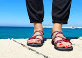 Water Resistant Paracord Burgundy Sandals-edocollection