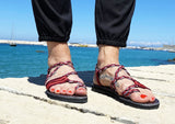 Braided Paracord Pink-Burgundy Sandals-edocollection