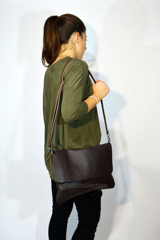 Crossbody Leather Handbag-Brown - edocollection