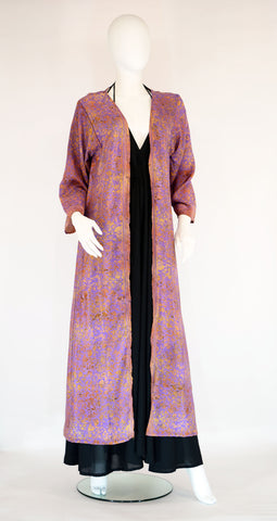 Long Silk Kimono-Floral Lilac Gold - edocollection