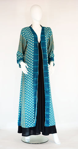 Long Silk Kimono-Teal Ethnic Fan - edocollection