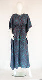 Floral Maxi Kaftan -Teal Brown - edocollection