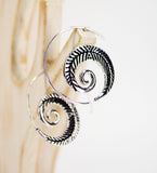 Brass Spiral Earrings Feather - edocollection