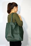 Leather Shopping Bag-Green - edocollection