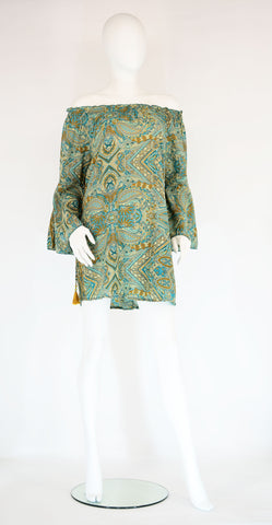 Viola Off Shoulder Short Tunic-Teal Paisley - edocollection