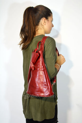 Leather Backpack Purse-Dark Red - edocollection