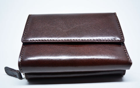 Compact Leather Wallet-Dark Brown - edocollection