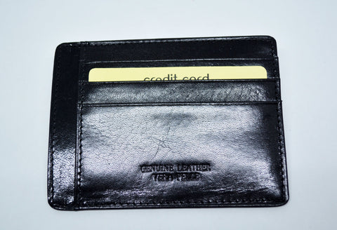 Slim Leather Card Holder Black - edocollection