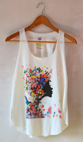 Multicolor Butterflies Lady Tank Top - edocollection