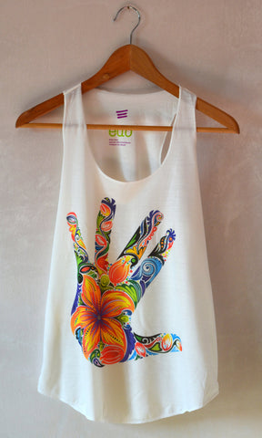 Multicolor Flower Hand Tank Top - edocollection