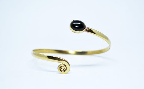 Womens Brass Cuff Bracelet  Black Stone - edocollection