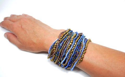 Women's Multi Strand Beaded Bracelet Blu - edocollection