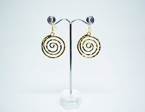 Brass Wire Dangle Earrings Spiral Motif - edocollection
