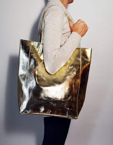 Patent Golden Leather Tote Bag - edocollection