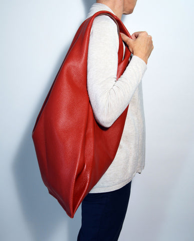 Large Leather Hobo Bag-Red - edocollection