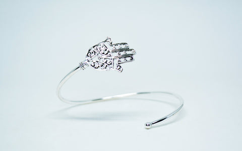 Women's German Silver Hamsa Cuff Bracelet - edocollection