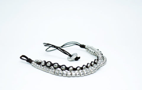 Men's Leather Bracelet With Silver Color Beads - edocollection