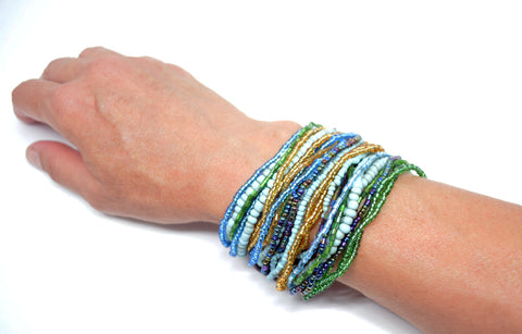 Womens Multi Strand Beaded Bracelet Teal - edocollection