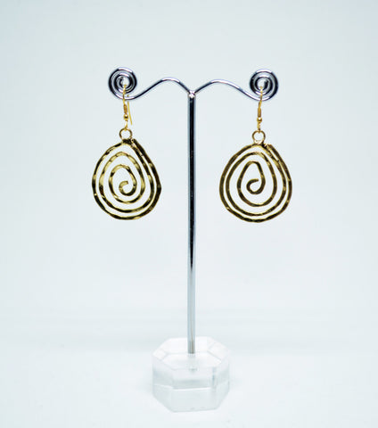 Brass Wire Dangle Earrings Oval Spiral Shape - edocollection