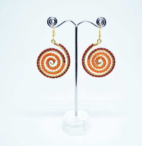 Brass Wire Wrapped Beads Earrings Orange Red - edocollection