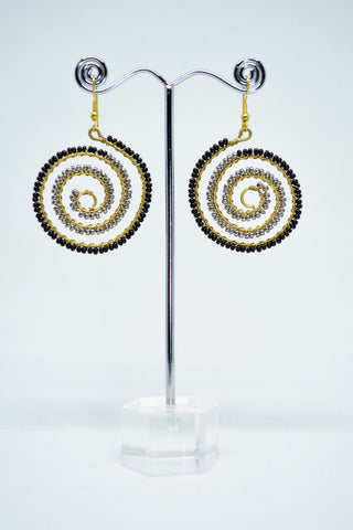 Brass Spiral Wire Earrings With Black Beads - edocollection