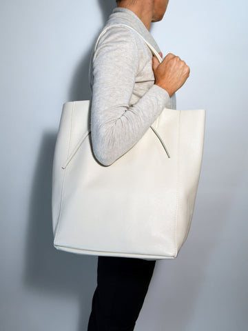 Leather Tote Bag-Creme - edocollection